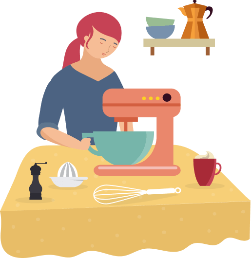 Image of woman using a mixer